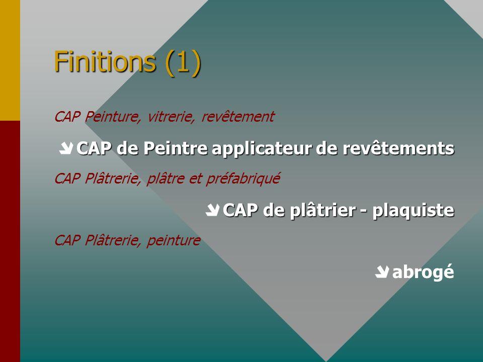 Finitions (1) CAP Peinture, vitrerie, revêtement CAP de Peintre applicateur de revêtements CAP Plâtrerie, plâtre et préfabriqué CAP de plâtrier - plaq