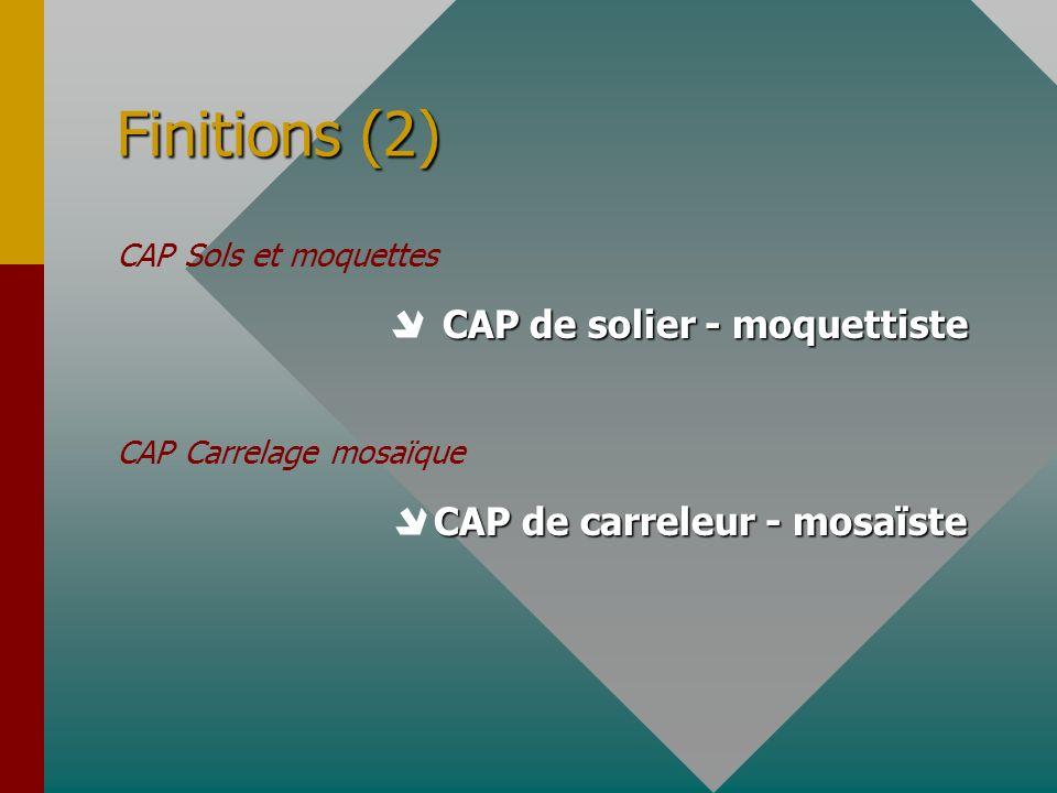 Finitions (2) CAP Sols et moquettes CAP de solier - moquettiste CAP Carrelage mosaïque CAP de carreleur - mosaïste