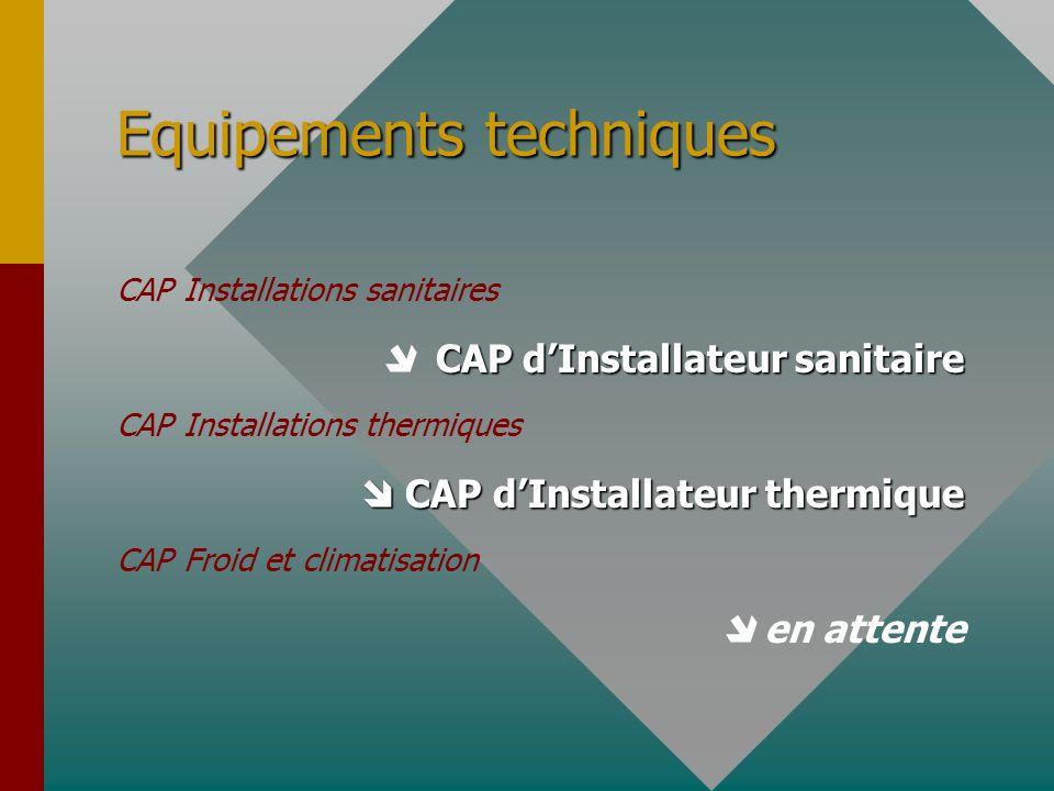 Equipements techniques CAP Installations sanitaires CAP dInstallateur sanitaire CAP Installations thermiques CAP dInstallateur thermique CAP dInstalla