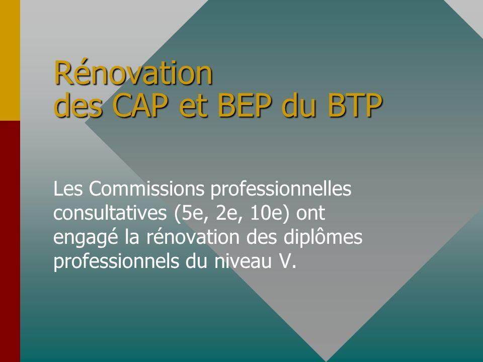 Rénovation des CAP et BEP du BTP Les Commissions professionnelles consultatives (5e, 2e, 10e) ont engagé la rénovation des diplômes professionnels du