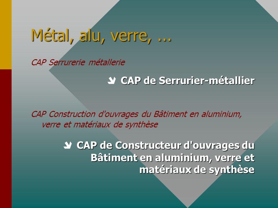 Métal, alu, verre,... CAP Serrurerie métallerie CAP de Serrurier-métallier CAP Construction d'ouvrages du Bâtiment en aluminium, verre et matériaux de