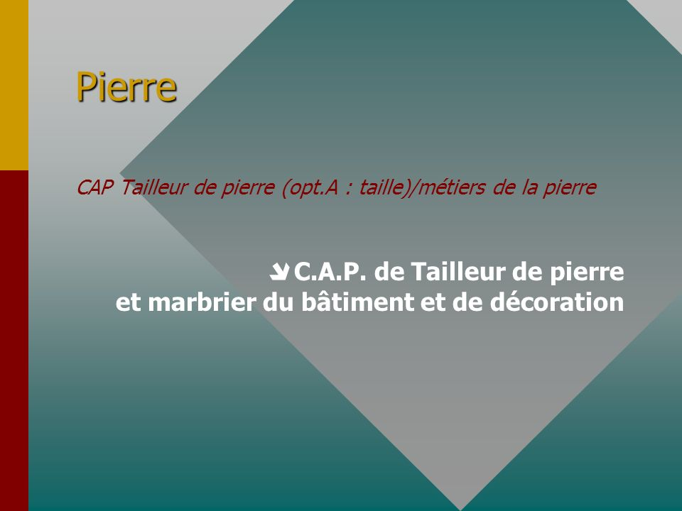 Pierre CAP Tailleur de pierre (opt.A : taille)/métiers de la pierre C.A.P. de Tailleur de pierre et marbrier du bâtiment et de décoration