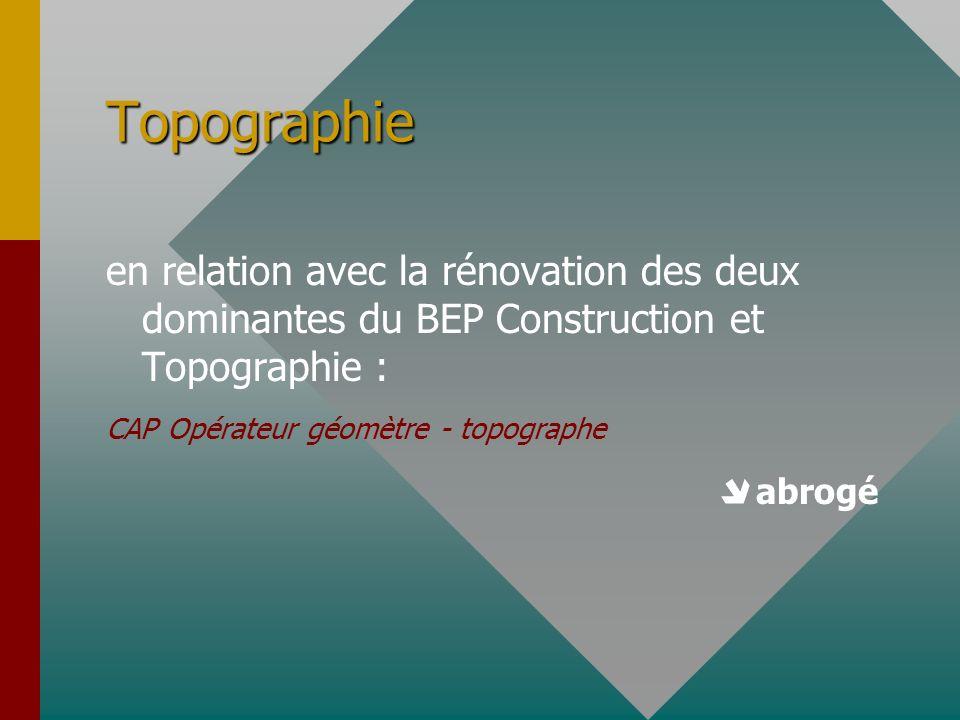 Topographie en relation avec la rénovation des deux dominantes du BEP Construction et Topographie : CAP Opérateur géomètre - topographe abrogé