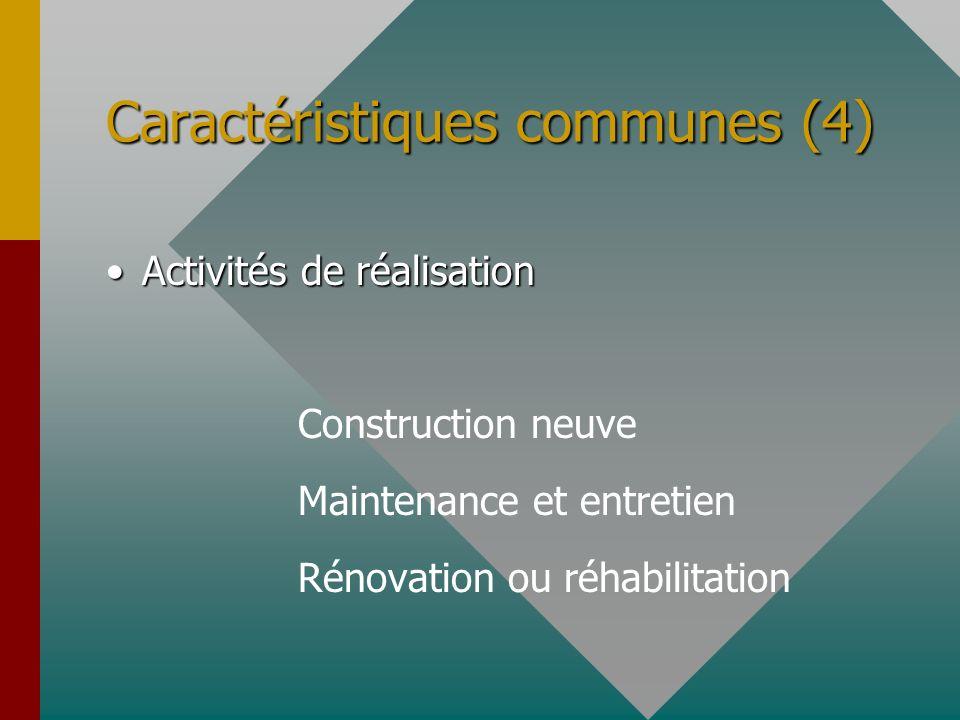 Caractéristiques communes (4) Activités de réalisationActivités de réalisation Construction neuve Maintenance et entretien Rénovation ou réhabilitatio