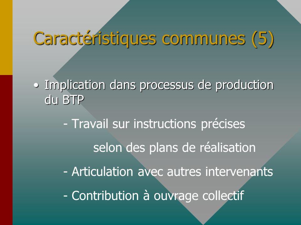 Caractéristiques communes (5) Implication dans processus de production du BTPImplication dans processus de production du BTP - Travail sur instruction