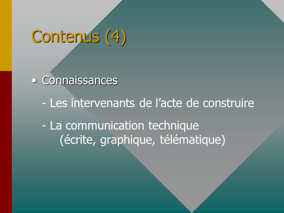 Contenus (4) ConnaissancesConnaissances - Les intervenants de lacte de construire - La communication technique (écrite, graphique, télématique)