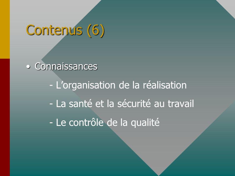 Contenus (6) ConnaissancesConnaissances - Lorganisation de la réalisation - La santé et la sécurité au travail - Le contrôle de la qualité