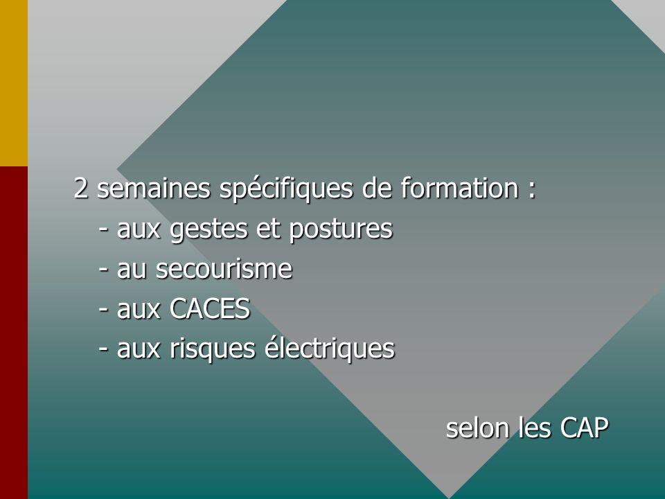 2 semaines spécifiques de formation : - aux gestes et postures - au secourisme - aux CACES - aux risques électriques selon les CAP