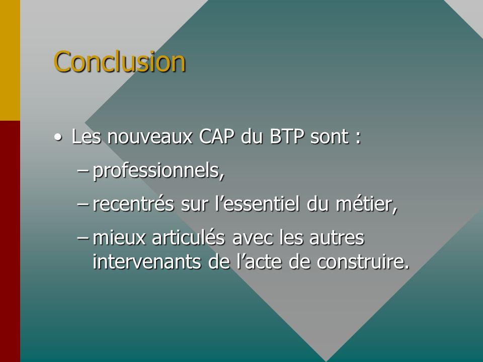 Conclusion Les nouveaux CAP du BTP sont :Les nouveaux CAP du BTP sont : –professionnels, –recentrés sur lessentiel du métier, –mieux articulés avec le
