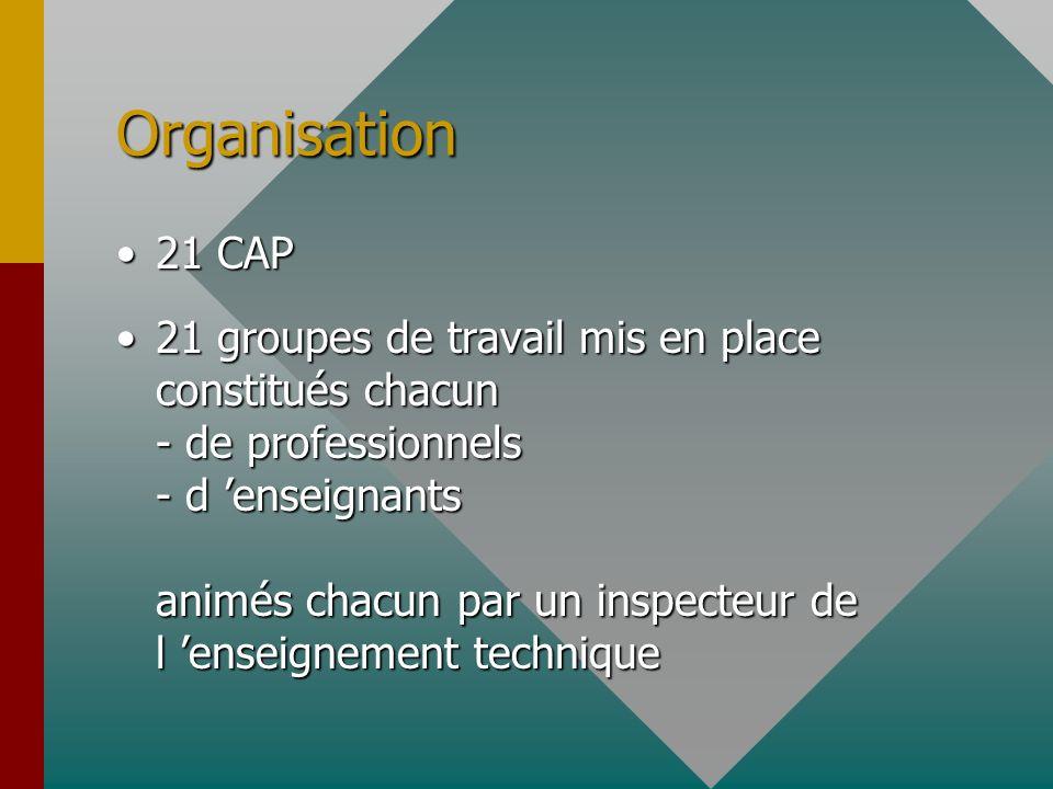 Organisation 21 CAP21 CAP 21 groupes de travail mis en place constitués chacun - de professionnels - d enseignants animés chacun par un inspecteur de