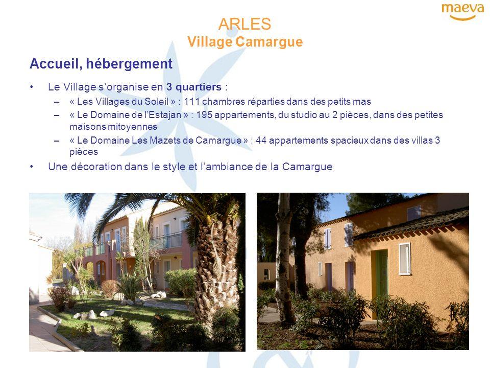 ARLES Village Camargue Salles de réunion 20 salles de réunion, de 30 à 1000 m² Climatisation et vue sur le jardin, la piscine ou la place du village pour tous les salons Des salles entièrement équipées pour des congrès ou séminaires Une capacité daccueil maximale de 900 personnes