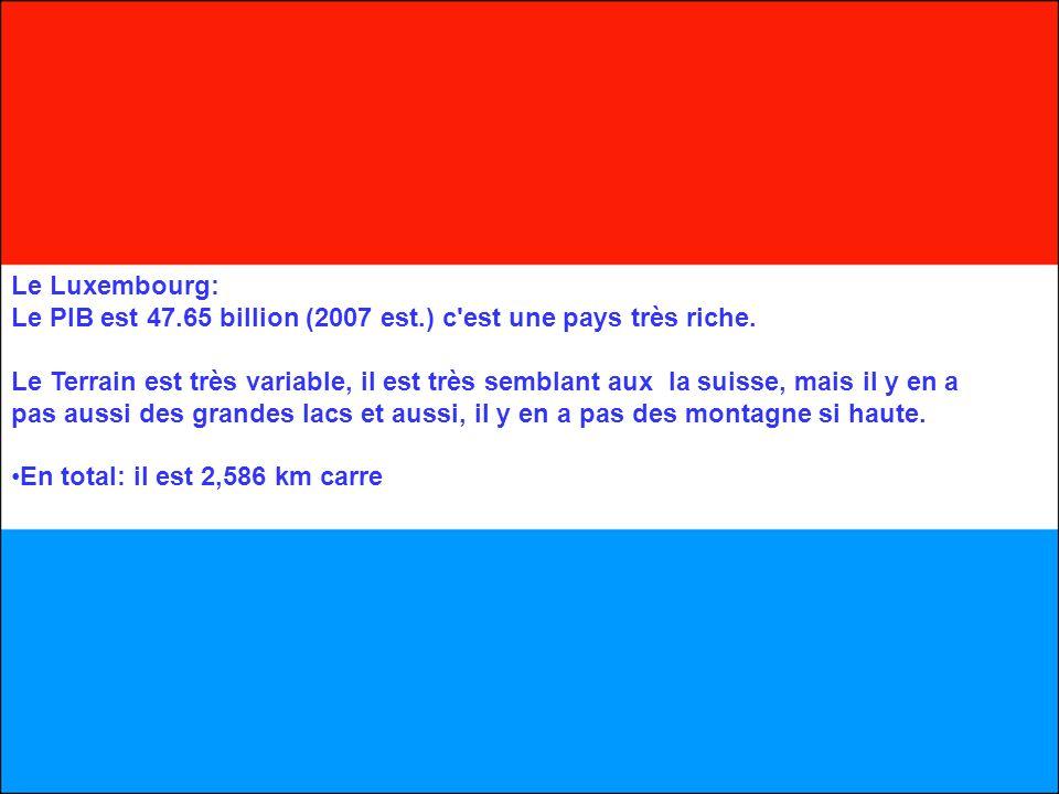 Le Luxembourg: Le PIB est 47.65 billion (2007 est.) c'est une pays très riche. Le Terrain est très variable, il est très semblant aux la suisse, mais