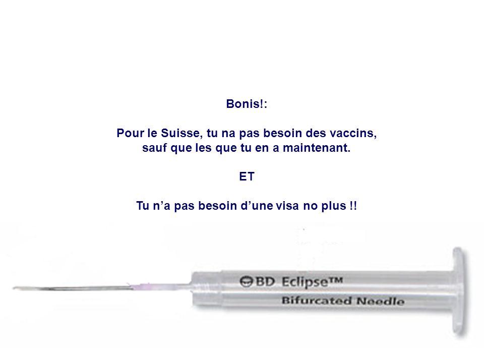 Bonis!: Pour le Suisse, tu na pas besoin des vaccins, sauf que les que tu en a maintenant. ET Tu na pas besoin dune visa no plus !!