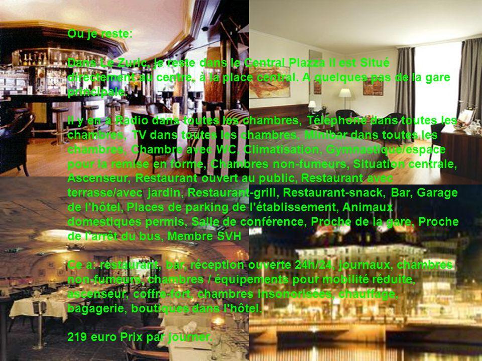 Ou je reste: Dans Le Zuric, je reste dans le Central Plazza il est Situé directement au centre, à la place central. A quelques pas de la gare principa