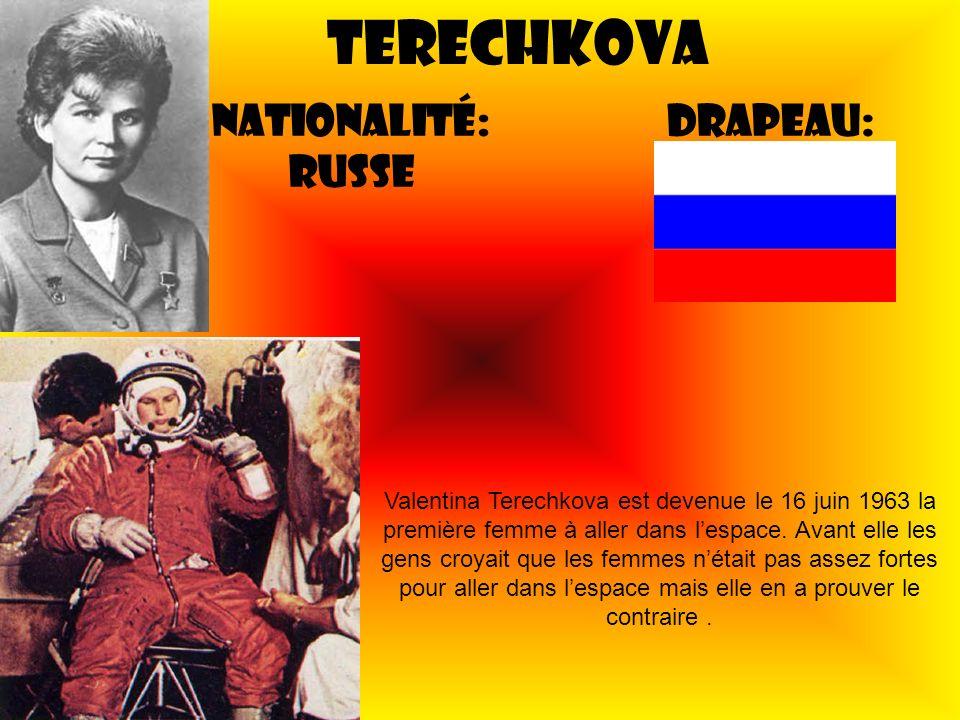 Terechkova Nationalité: Russe Drapeau: Valentina Terechkova est devenue le 16 juin 1963 la première femme à aller dans lespace. Avant elle les gens cr