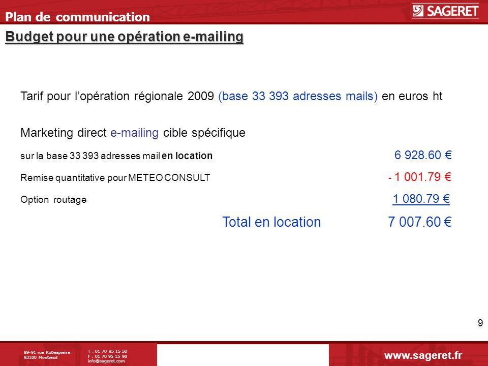 89-91 rue Robespierre 93100 Montreuil T : 01 70 95 15 50 F : 01 70 95 15 90 info@sageret.com 9 Budget pour une opération e-mailing Plan de communicati