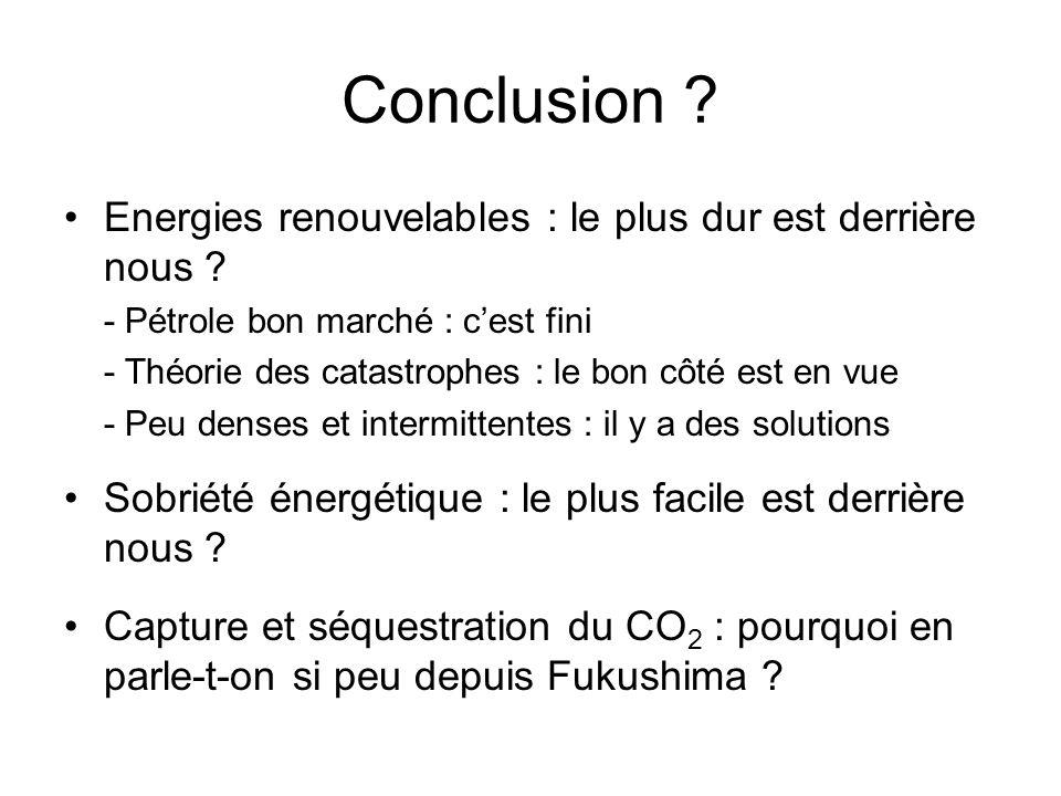 Conclusion ? Energies renouvelables : le plus dur est derrière nous ? - Pétrole bon marché : cest fini - Théorie des catastrophes : le bon côté est en