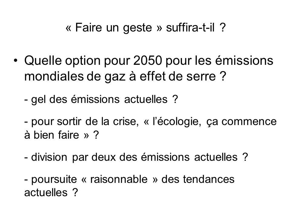 « Faire un geste » suffira-t-il ? Quelle option pour 2050 pour les émissions mondiales de gaz à effet de serre ? - gel des émissions actuelles ? - pou