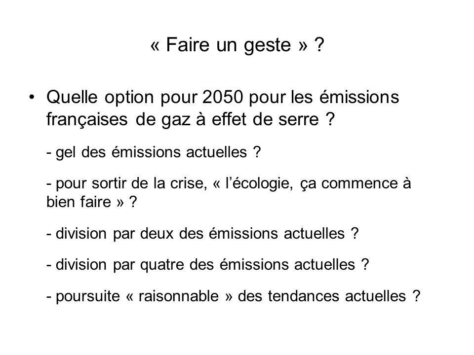 « Faire un geste » ? Quelle option pour 2050 pour les émissions françaises de gaz à effet de serre ? - gel des émissions actuelles ? - pour sortir de