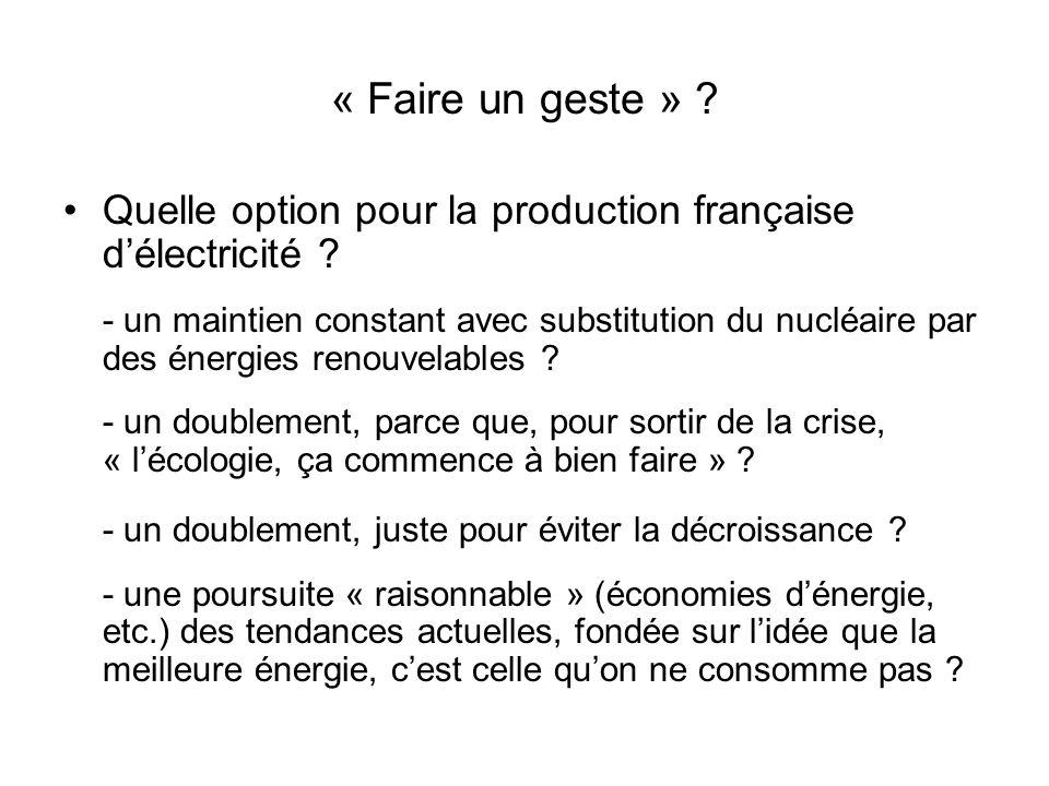 « Faire un geste » ? Quelle option pour la production française délectricité ? - un maintien constant avec substitution du nucléaire par des énergies