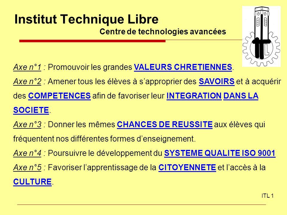 Institut Technique Libre Centre de technologies avancées ITL 1 Axe n°1 : Promouvoir les grandes VALEURS CHRETIENNES. Axe n°2 : Amener tous les élèves
