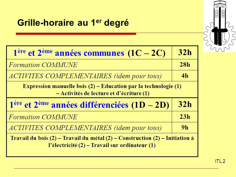Grille-horaire au 1 er degré ITL 2 1 ère et 2 ème années communes (1C – 2C) 32h Formation COMMUNE 28h ACTIVITES COMPLEMENTAIRES (idem pour tous) 4h Ex