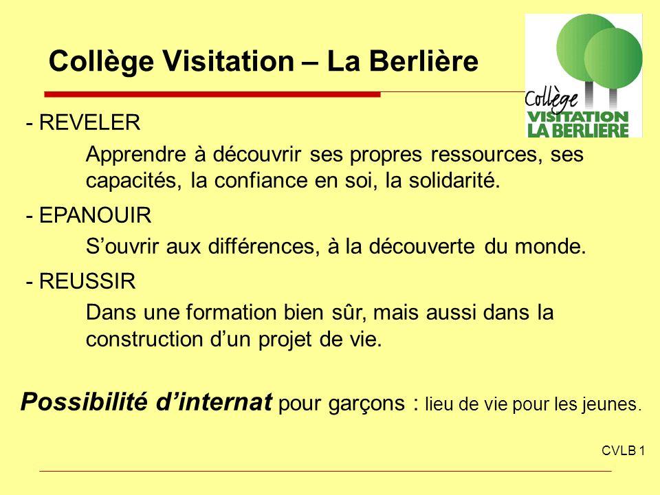 Collège Visitation – La Berlière CVLB 1 - REVELER Apprendre à découvrir ses propres ressources, ses capacités, la confiance en soi, la solidarité. - E
