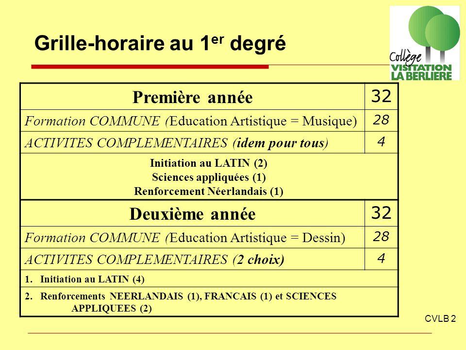 Grille-horaire au 1 er degré CVLB 2 Première année 32 Formation COMMUNE (Education Artistique = Musique) 28 ACTIVITES COMPLEMENTAIRES (idem pour tous)