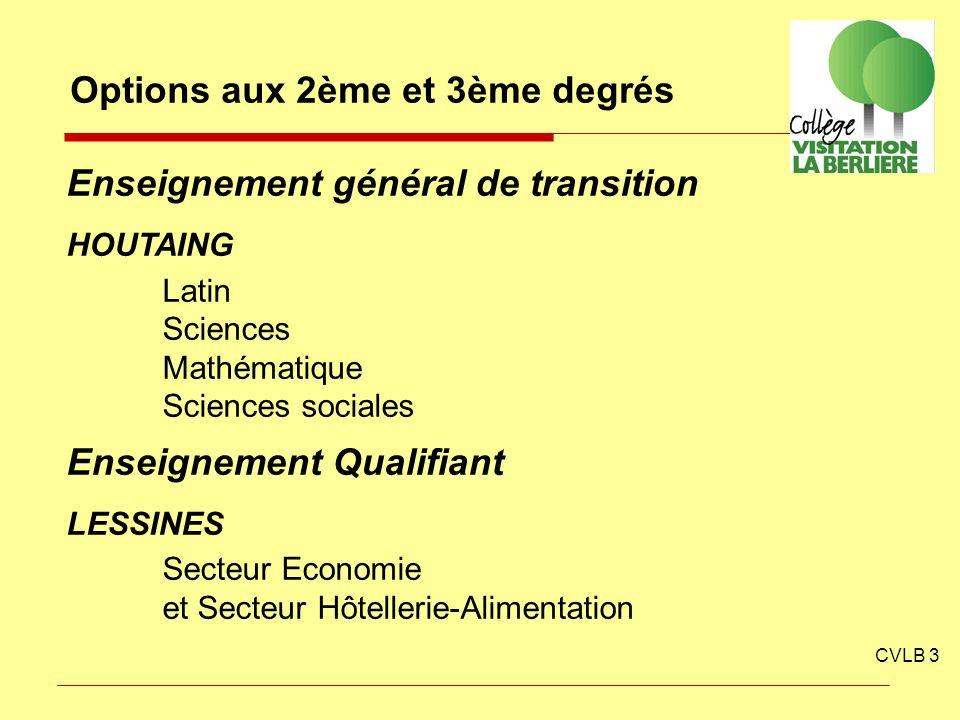 CVLB 3 Options aux 2ème et 3ème degrés Enseignement général de transition HOUTAING Latin Sciences Mathématique Sciences sociales Enseignement Qualifia