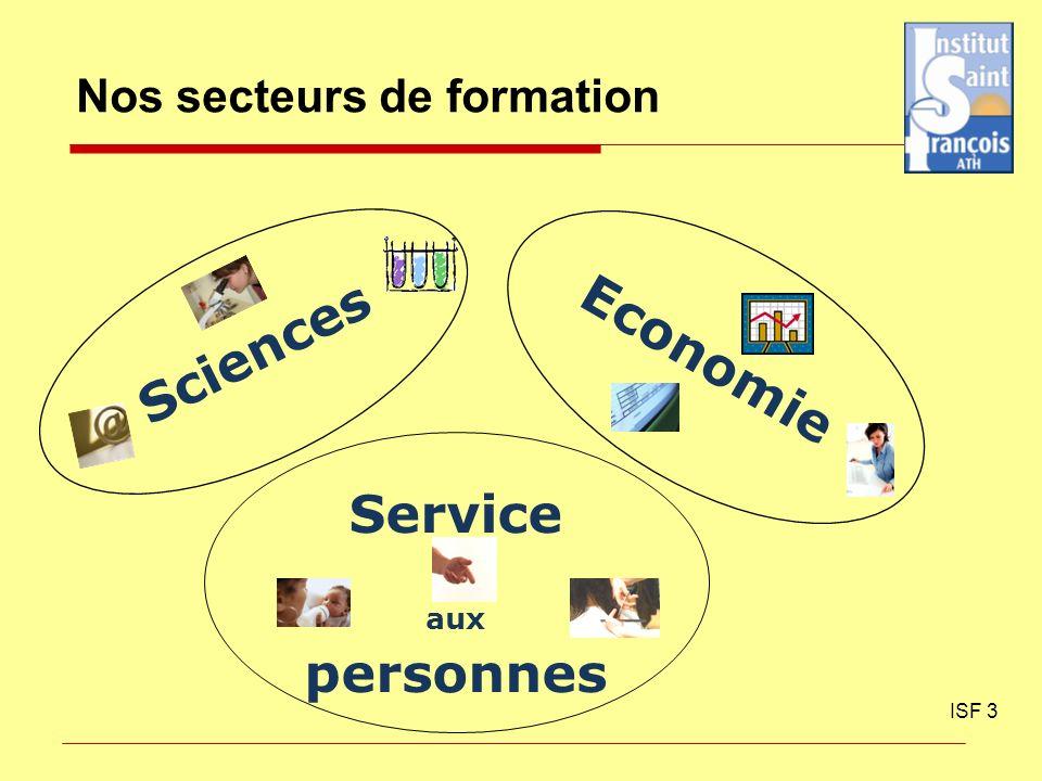 Nos secteurs de formation ISF 3 Sciences Economie Service aux personnes