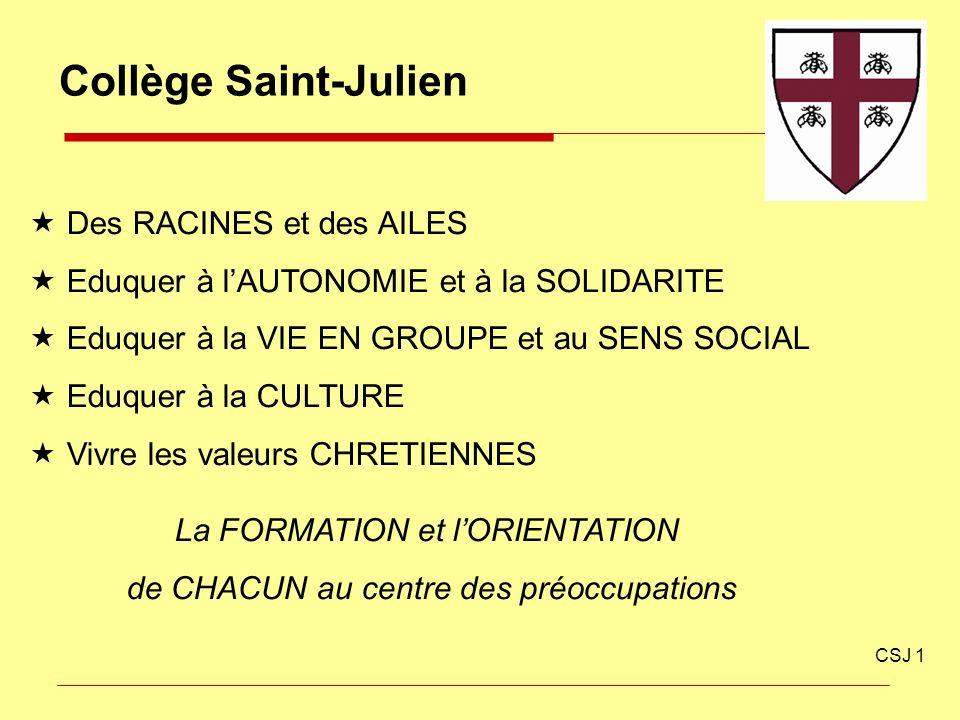 Collège Saint-Julien CSJ 1 Des RACINES et des AILES Eduquer à lAUTONOMIE et à la SOLIDARITE Eduquer à la VIE EN GROUPE et au SENS SOCIAL Eduquer à la
