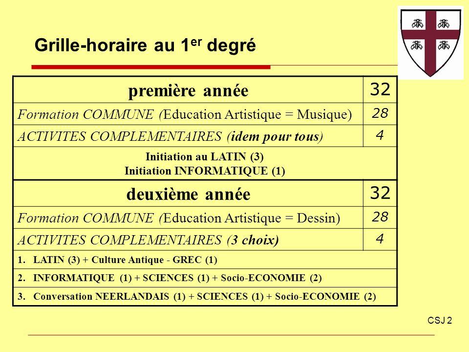 Grille-horaire au 1 er degré CSJ 2 première année 32 Formation COMMUNE (Education Artistique = Musique) 28 ACTIVITES COMPLEMENTAIRES (idem pour tous)