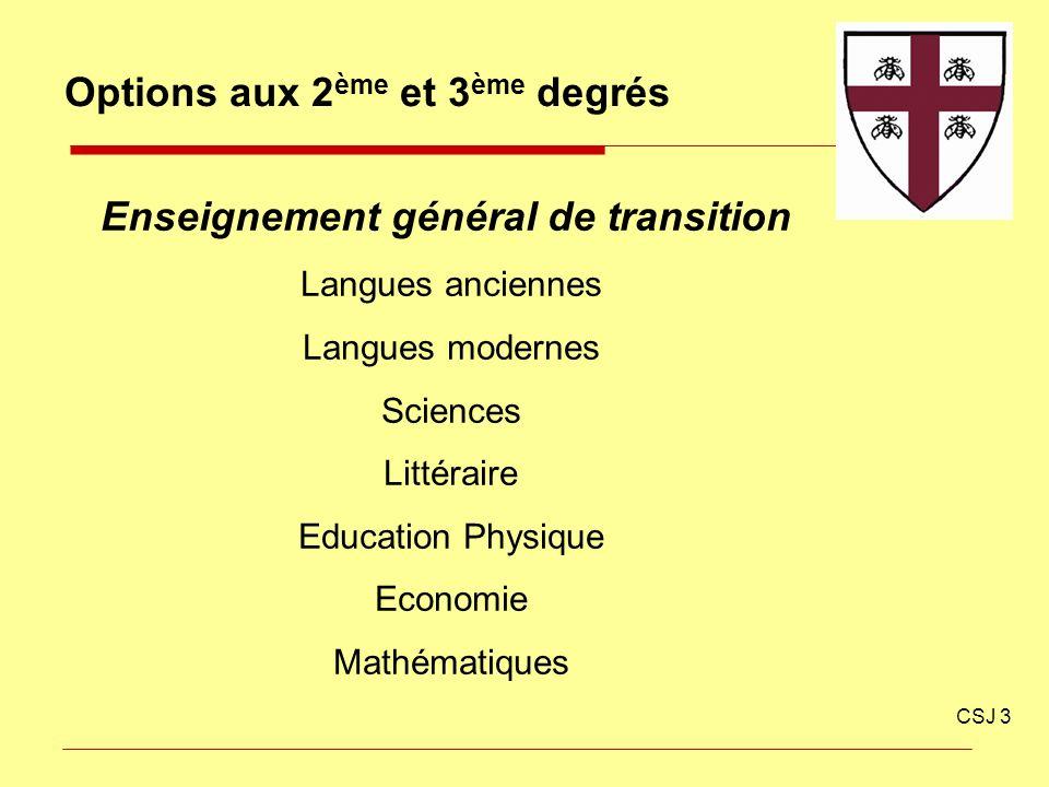 Options aux 2 ème et 3 ème degrés CSJ 3 Enseignement général de transition Langues anciennes Langues modernes Sciences Littéraire Education Physique E