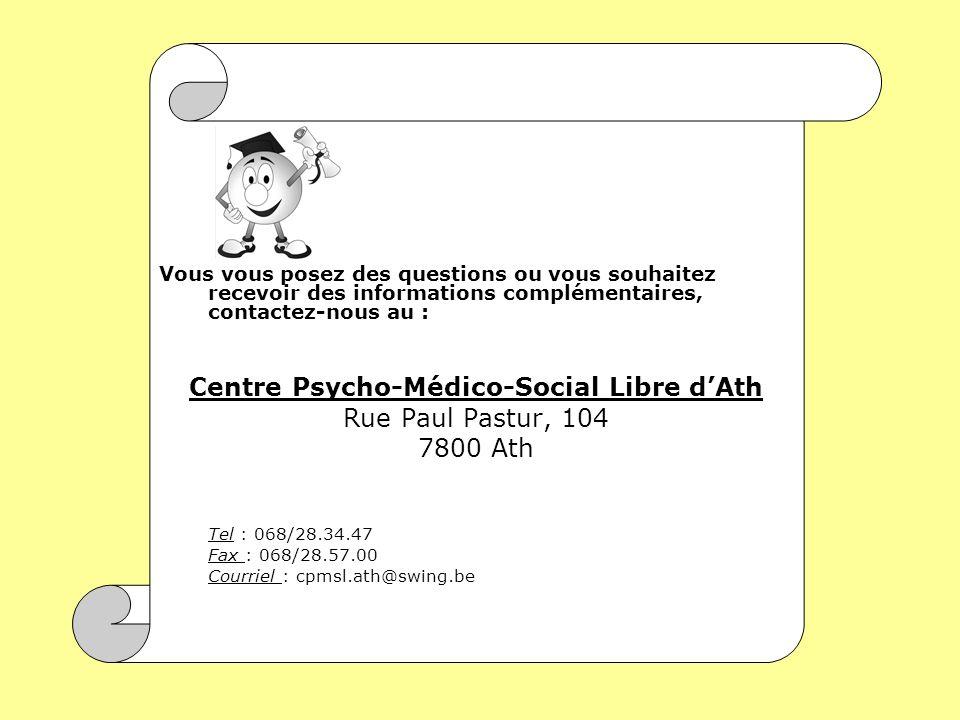 Vous vous posez des questions ou vous souhaitez recevoir des informations complémentaires, contactez-nous au : Centre Psycho-Médico-Social Libre dAth