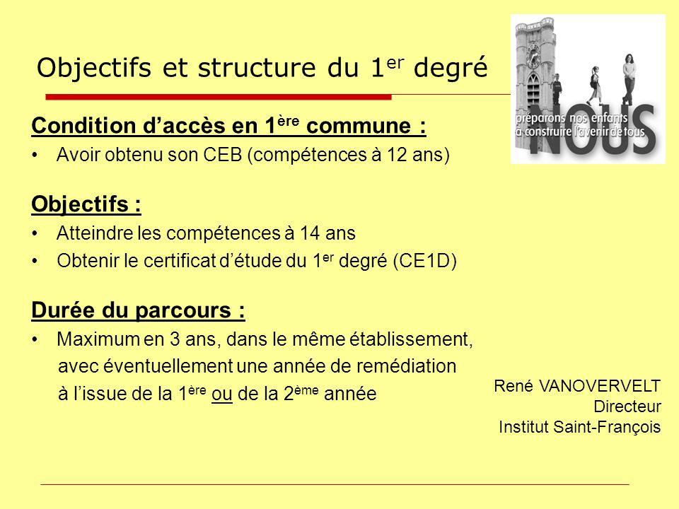 Condition daccès en 1 ère commune : Avoir obtenu son CEB (compétences à 12 ans) Objectifs : Atteindre les compétences à 14 ans Obtenir le certificat d