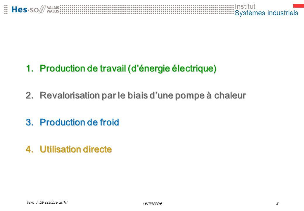 Institut Systèmes industriels 1.Production de travail (dénergie électrique) 2.Revalorisation par le biais dune pompe à chaleur 3.Production de froid 4.Utilisation directe bom / 29 octobre 2010 Technopôle2