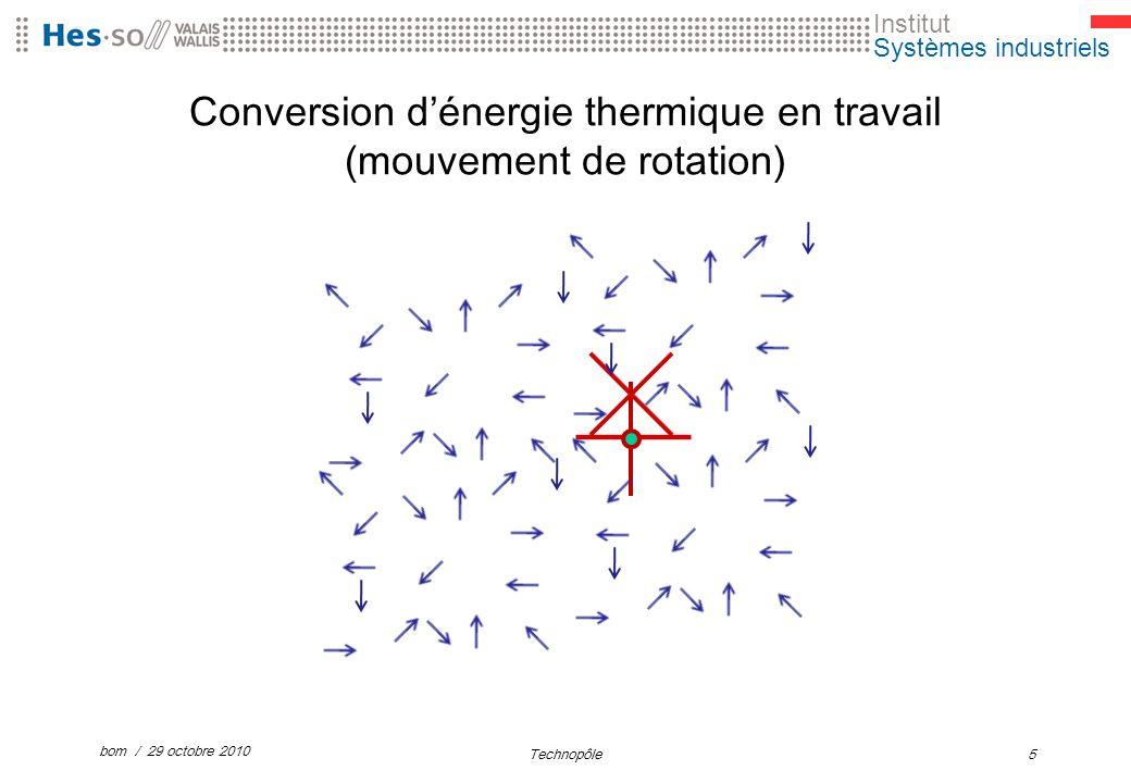 Institut Systèmes industriels Conversion dénergie thermique en travail (mouvement de rotation) bom / 29 octobre 2010 Technopôle5
