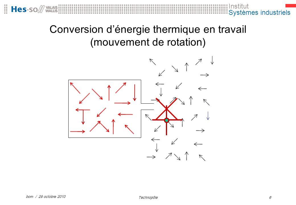 Institut Systèmes industriels Conversion dénergie thermique en travail (mouvement de rotation) bom / 29 octobre 2010 Technopôle6