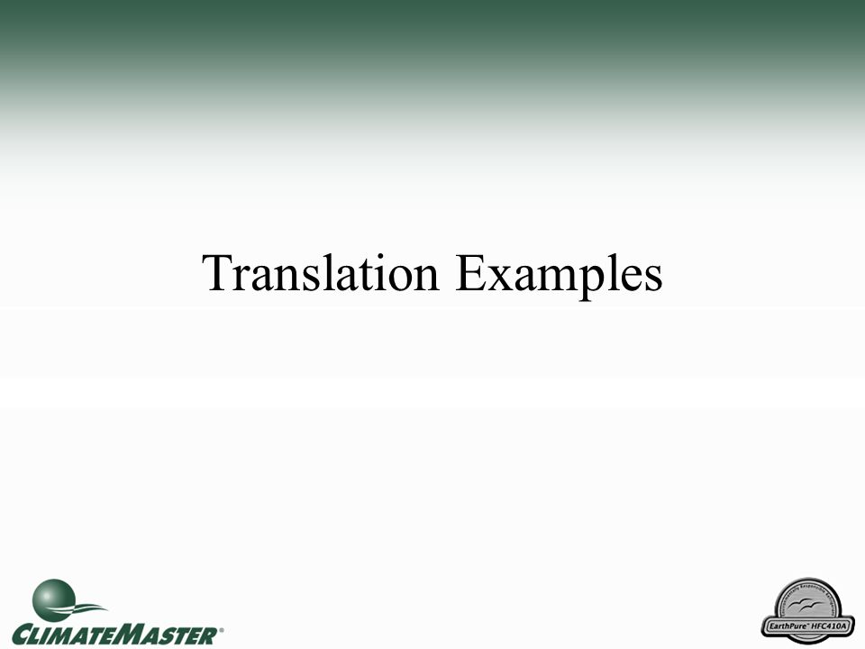 Translation Examples