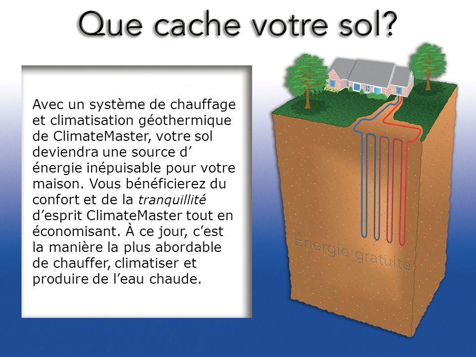 Avec un système de chauffage et climatisation géothermique de ClimateMaster, votre sol deviendra une source d énergie inépuisable pour votre maison. V