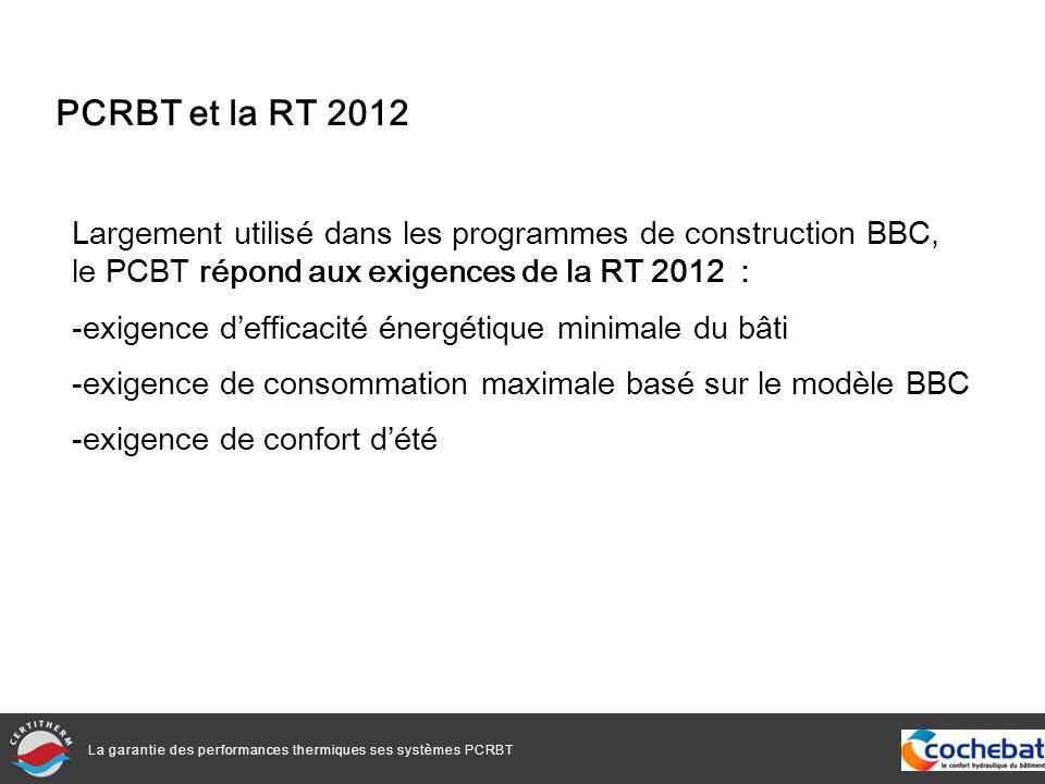 La garantie des performances thermiques ses systèmes PCRBT PCRBT et la RT 2012 Largement utilisé dans les programmes de construction BBC, le PCBT répond aux exigences de la RT 2012 : -exigence defficacité énergétique minimale du bâti -exigence de consommation maximale basé sur le modèle BBC -exigence de confort dété