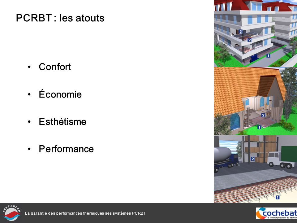 La garantie des performances thermiques ses systèmes PCRBT Dans le neuf à près de 95 %, 5% dans la rénovation Très utilisé dans la maison individuelle, également de nombreuses réalisations dans le résidentiel collectif et dans le tertiaire Progression de 10 % entre 2009 et 2010 Plus de 7 millions de m² de plancher hydraulique ont été installés en 2010 en France PCRBT : le marché français