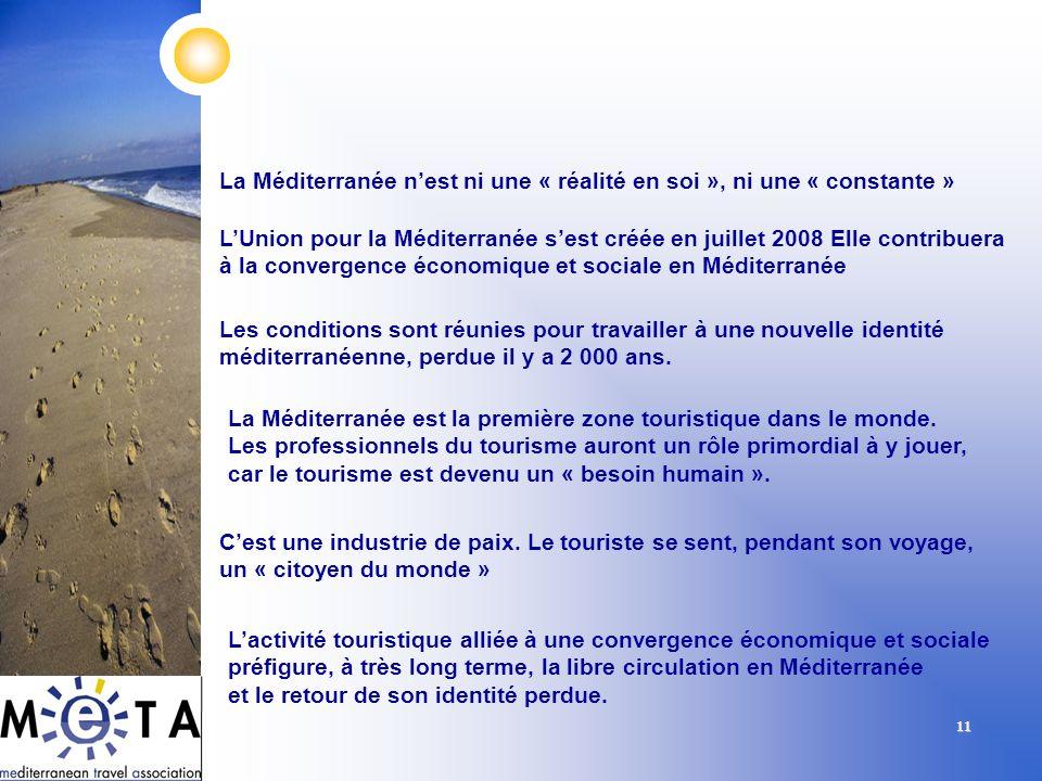 11 La Méditerranée nest ni une « réalité en soi », ni une « constante » LUnion pour la Méditerranée sest créée en juillet 2008 Elle contribuera à la c
