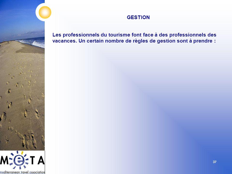 37 GESTION Les professionnels du tourisme font face à des professionnels des vacances. Un certain nombre de règles de gestion sont à prendre :