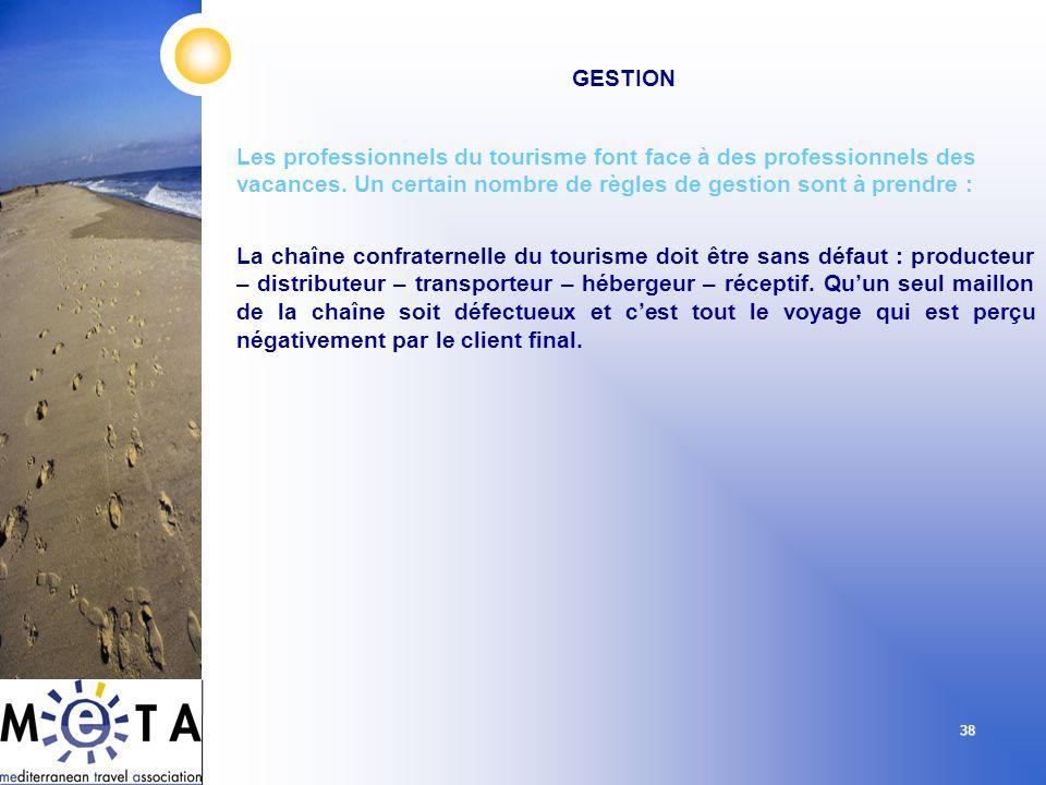 38 GESTION Les professionnels du tourisme font face à des professionnels des vacances. Un certain nombre de règles de gestion sont à prendre : La chaî
