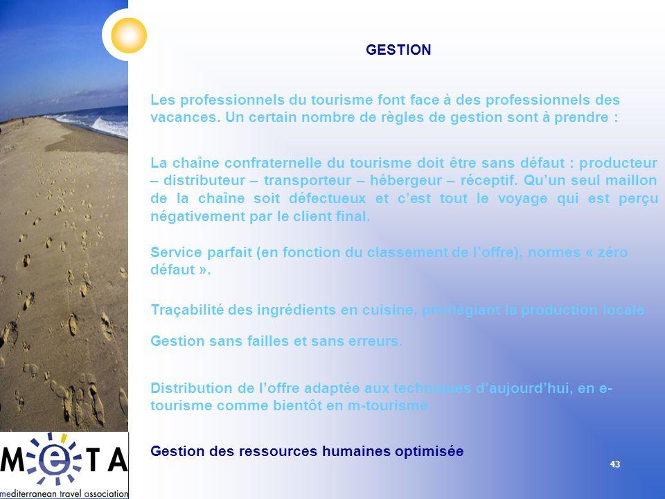 43 GESTION Les professionnels du tourisme font face à des professionnels des vacances. Un certain nombre de règles de gestion sont à prendre : La chaî