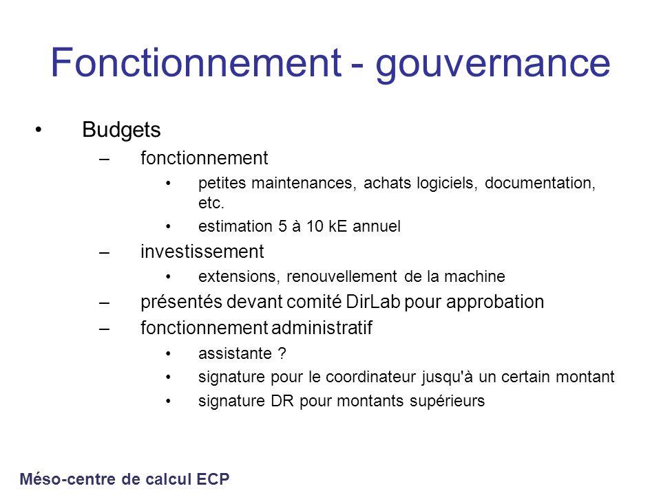 Fonctionnement - gouvernance Budgets –fonctionnement petites maintenances, achats logiciels, documentation, etc. estimation 5 à 10 kE annuel –investis