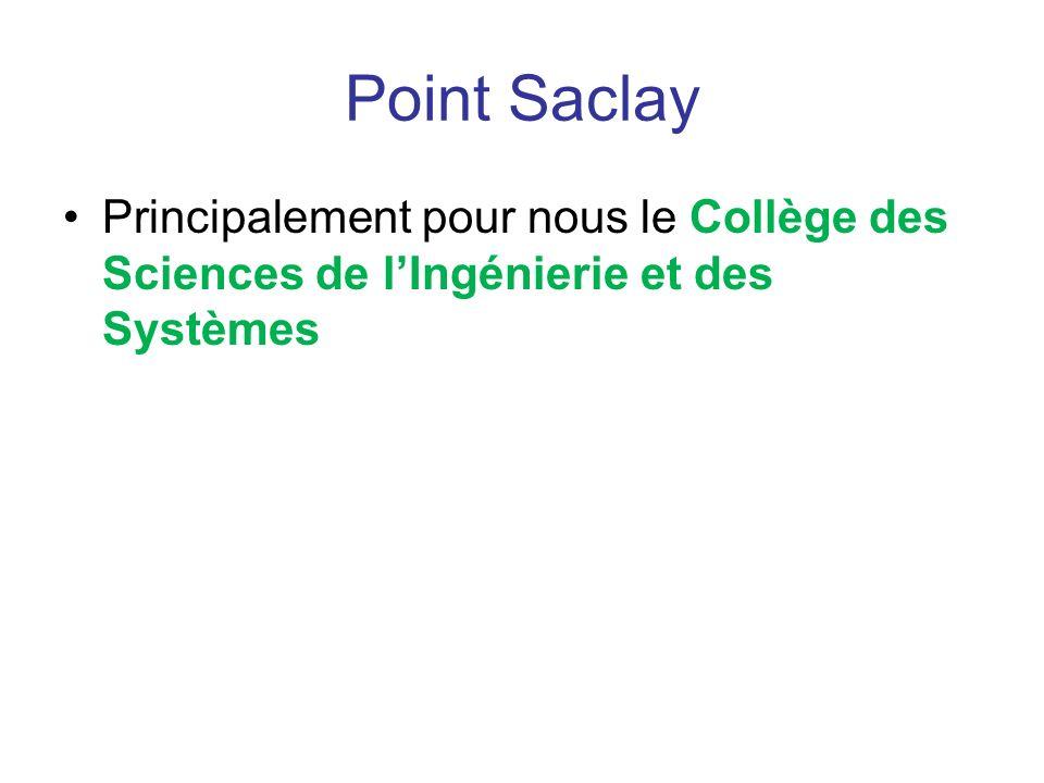 Point Saclay Principalement pour nous le Collège des Sciences de lIngénierie et des Systèmes