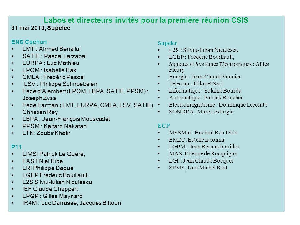 Labos et directeurs invités pour la première réunion CSIS 31 mai 2010, Supelec ENS Cachan LMT : Ahmed Benallal SATIE : Pascal Larzabal LURPA : Luc Mat