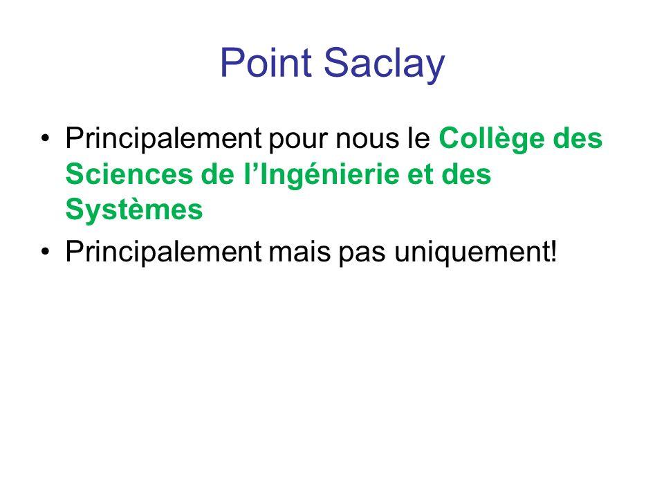 Point Saclay Principalement pour nous le Collège des Sciences de lIngénierie et des Systèmes Principalement mais pas uniquement!